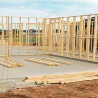 New construction checkign foundation during home inspections